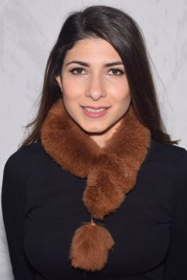 Brown cross pom fur scarf
