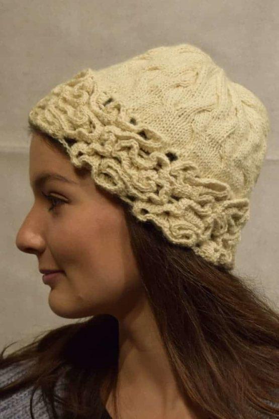 Cream coral hat