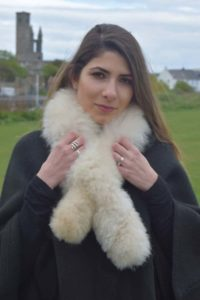 Cream double sided fur scarf