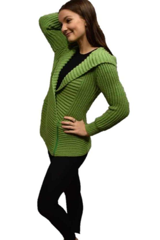 Lime Marina hooded Cardigan
