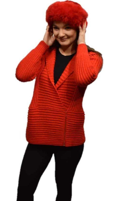 Orange Marina hooded Cardigan