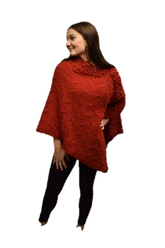 Red coral poncho