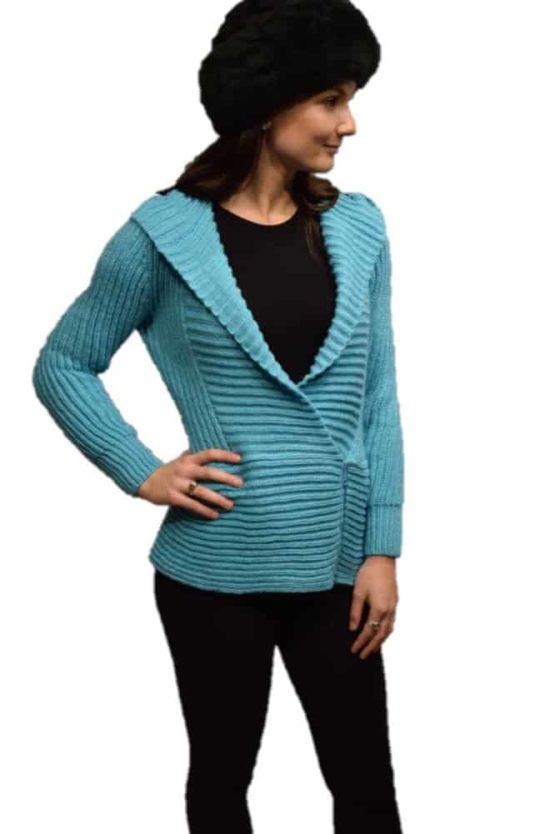 Turquoise Marina hooded Cardigan
