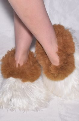 White-brown-suri slippers
