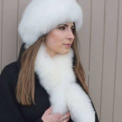 White fur cross over scarf
