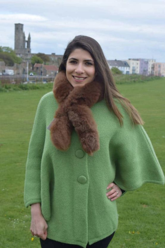 brown double sided fur scarf