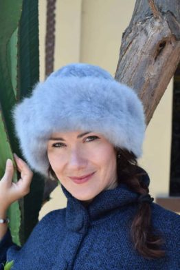 grey fur hat