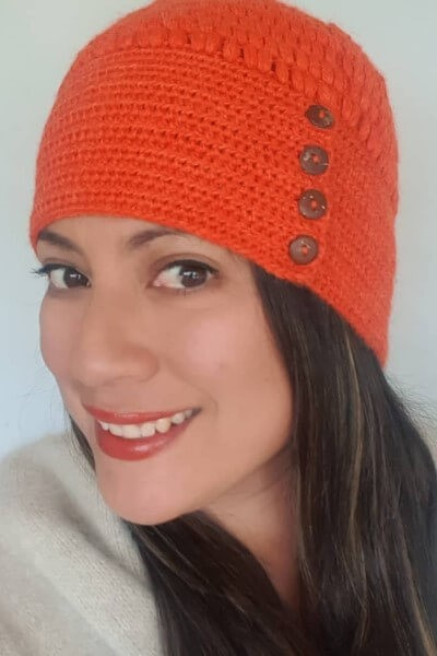 button orange hat