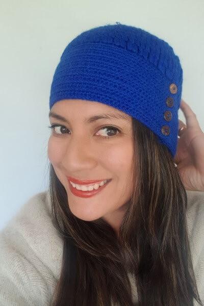 royal blue button hat