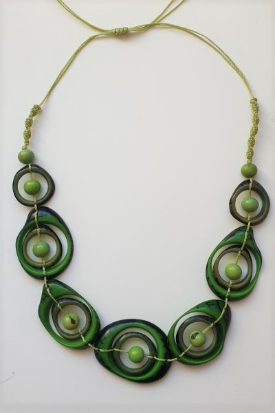 lime green swirl necklace