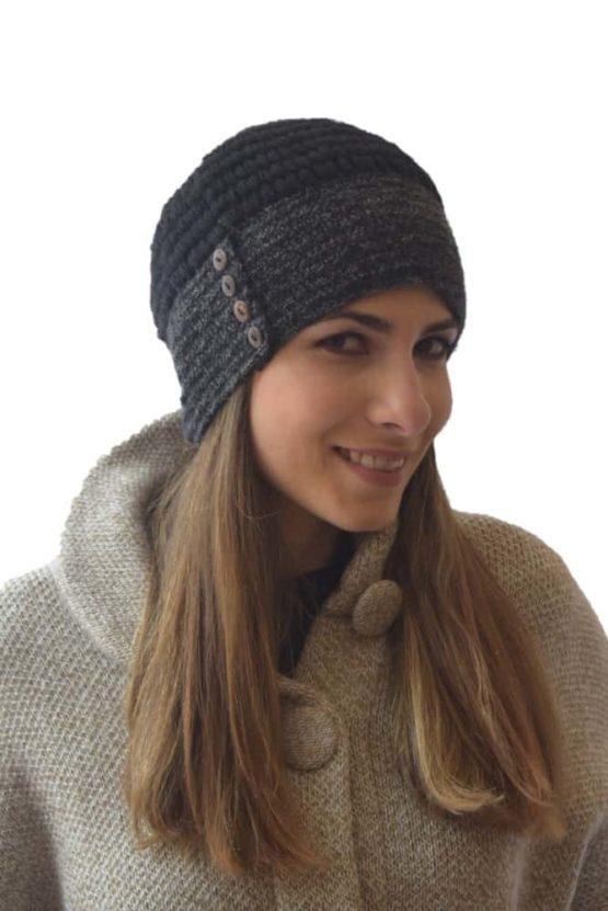 Black-Grey button hat