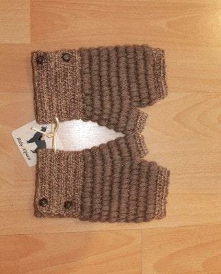 Brown button mittens