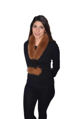 Brown Pompom fur scarf