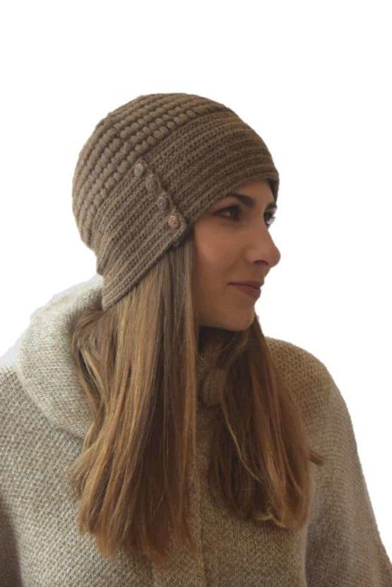 Brown button hat
