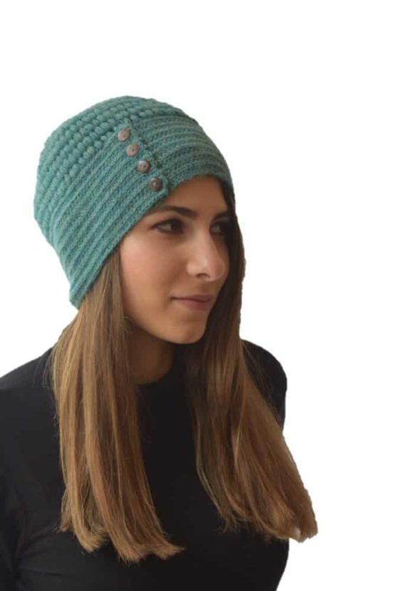 Green button hat