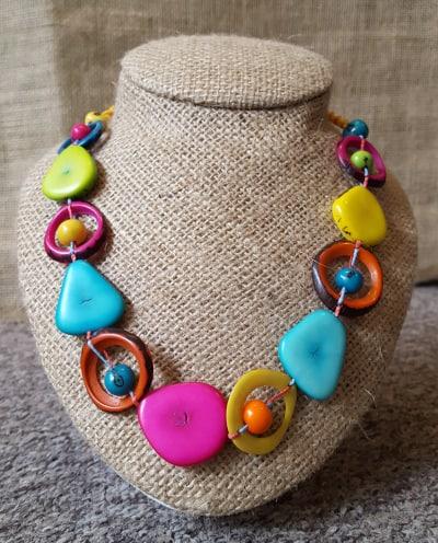 Multi coloured saturn necklace