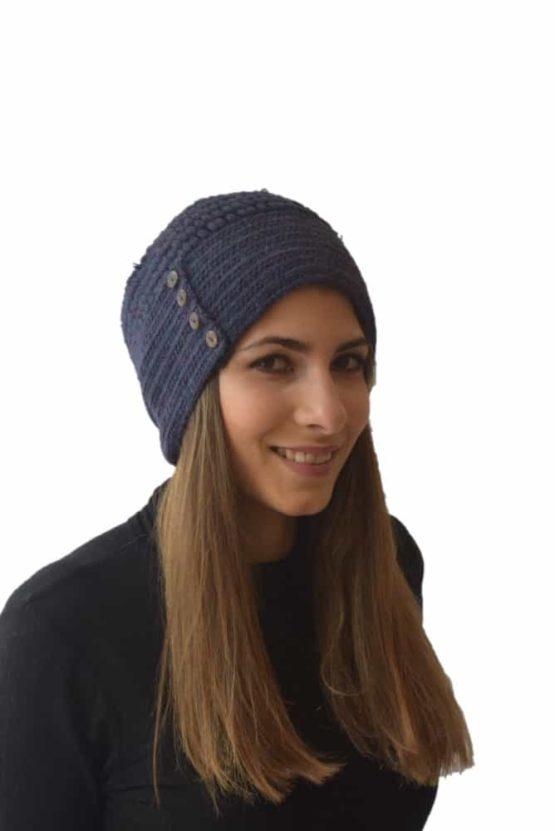 Navy button hat