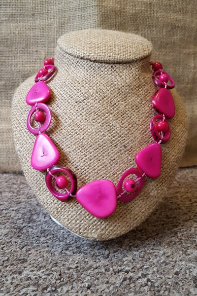 Pink saturn necklace