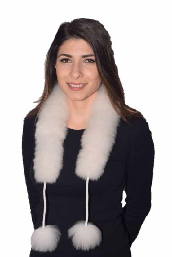 White Pompom fur scarf