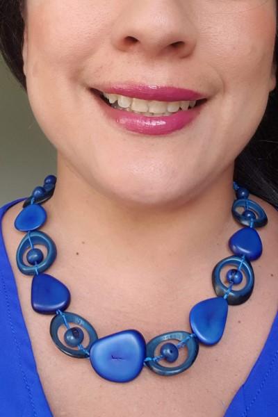 blue saturn necklace