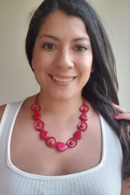 Red saturn necklace