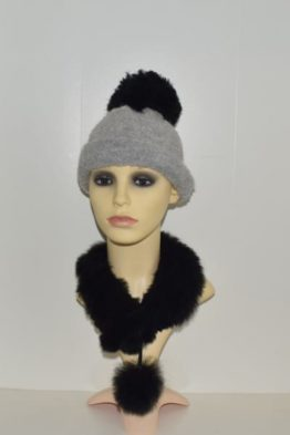 Grey Buocle hat with black pompom