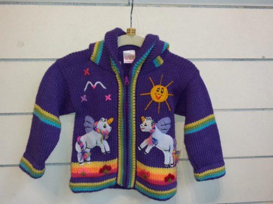 Unicorn's purple cardigan