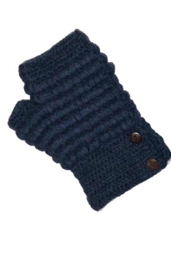 Navy Button Mittens