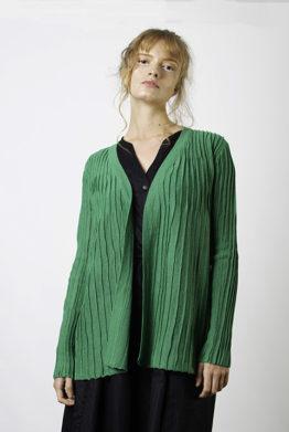 Green Ribbed Cardigan