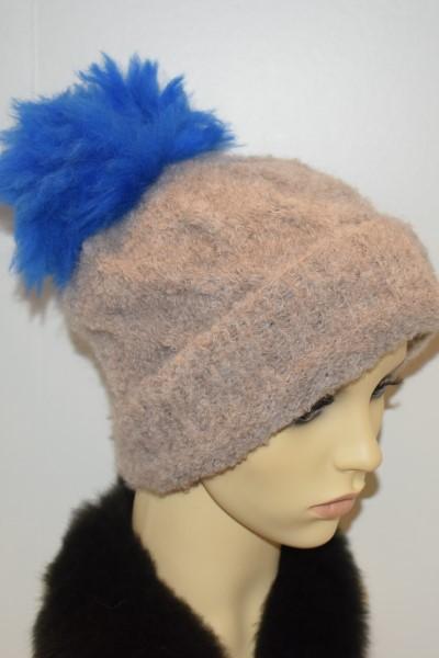 Beige hat - Blue pom